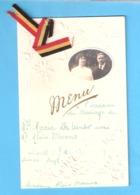 Menu Mariage-Photo-Fleurs En Relief-Louth-Lincolnshire-England-1915-Guerre1914-1918-Réfugiés Belges-Mechelen-voir Texte - Menus