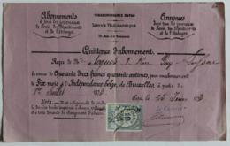 Quittance D'abonnement 1873 Journal L'Indépendance Belge De Bruxelles Timbre Quitttances Reçus Et Déchargés 10 Centimes - France