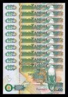 Zambia Lot Bundle 10 Banknotes 20 Kwacha 1992 Pick 36b Sign 11 SC UNC - Zambia