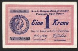AUSTRIA 1 KRONE ND (1915) CAMP WWI FREISTADT LAGER EXCELENT CONDITION - Austria