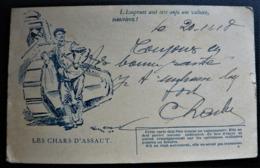 Lettre Guerre 14/18 Carte En Franchise Correspondance Des Armées De La République, Les Chars D'Assaut WW1 - Marcophilie (Lettres)