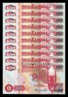 Zambia Lot Bundle 10 Banknotes 50 Kwacha 2009 Pick 37h SC UNC - Zambia