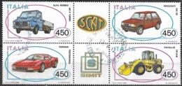 ITALY 1986 Italian Motor Industry -  Block Of 4 X 450l FU - 6. 1946-.. Repubblica