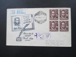 Spanien 1948 FDC Nr. 954 Als 4er Block Als Einschreiben Aus Barcelona In Die USA New York Luftpost! 3 Ak Stempel - 1931-50 Briefe U. Dokumente