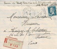 TP 181 Sur Lettre En Recommandé De Troyes - Quartier St Martin Pour Anizy Le Chateau Puis Paris - Marcophilie (Lettres)