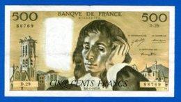 500 Fr  Du  6/1/1972 - 500 F 1968-1993 ''Pascal''