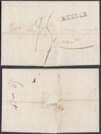 """BELGIQUE LETTRE DE ROUSSELAER 22/11/1828 GRIFFE """"MEENEM"""" (29X4.50) VERS GEND (DD) DC-4451 - 1815-1830 (Dutch Period)"""