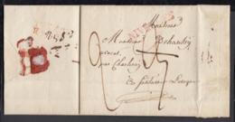 """BELGIQUE LETTRE DE NIVELLES 01/08/1826 GRIFFE """"NIVELLES"""" (35.5X5.5) VERSO DEBOURSE """"D 94 D /BRUXELLES""""  (DD) DC-4454 - 1815-1830 (Dutch Period)"""