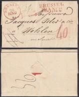 """BELGIQUE LETTRE DE BRUXELLES 26/06/1829 GRIFFE """"BRUSSEL FRANCO""""  VERS WOLHEN SUISSE TAXE (DD) DC-4455 - 1815-1830 (Dutch Period)"""