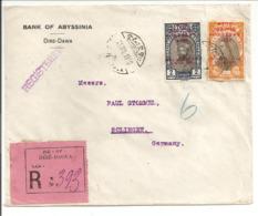 Registered Diri-Dawa /Diré-Daoua 25.8.30 Vers Solingen Deutschland - Äthiopien