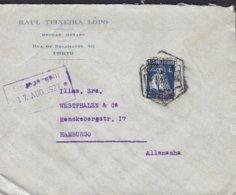 Portugal RAUL TEIXEIRA LOPO Drogas-Metaes, PORTO 1927 Cover Letra HAMBURG Germany 1.60 E Ceres Single Stamp - 1910-... République