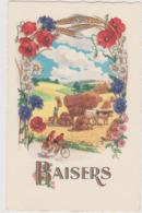 Illustrateur Ed Fox N°441 - Baisers Coquelicot Bleuet Marguerite Velo Tandem Scene Champêtre - CPSM 9x14 Etat Luxe Neuve - Fleurs