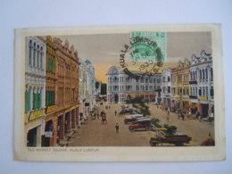 Malay Malaya Malaisie Old Market Square Kuala Lumpur Auto Used 1935 Stamp Tiger 2 C Yv 53 - Malaysia