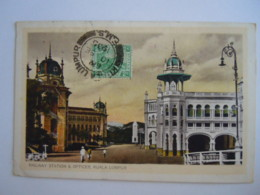 Malay Malaya Malaisie Railway Station & Offices  Kuala Lumpur Used 1935 Stamp Tiger 2 C Yv 53 - Malaysia