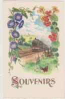Illustrateur Ed Fox N°441 - Souvenirs Volubilis Capucine Train Locomotive Scene Campagnarde - CPSM 9x14 Etat Luxe Neuve - Fleurs