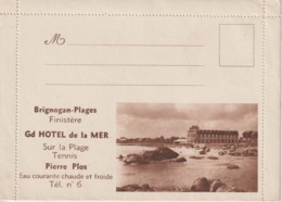 BRIGNOGAN, Grand Hôtel De La Mer, Pierre Plos -lettre-carte Illustrée (rare) - Brignogan-Plage