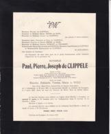Château De GYSEGEM Paul De CLIPPELE 1864-1947 Veuf Blanche De WOLF Né à GRAMMONT Famille MOENS De HASE - Todesanzeige
