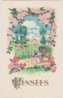 Illustrateur Ed Fox N°441 - Pensées Aubepine Caleche Scene Campagnarde - CPSM 9x14 Etat Luxe Neuve - Fleurs