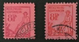 1945 Mecklenburg-Vorpommern : Pflügender Bauer Mi. 11x + 11y - Sowjetische Zone (SBZ)
