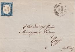 323- Frontespizio Del 18 Maggio 1860 Da Parma A Reggio Con Cent. 20 Azzurro   Sass. 15Ca - - Sardaigne