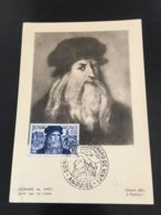 Premier Jour Carte Maximum  FDC Leonard De Vinci 15 Juillet  1952 N° 929  RARE Cote +++ - FDC
