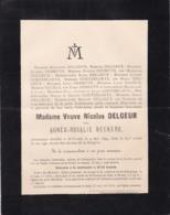 SAINT-TROND SINT-TRUIDEN Agnès BECKERS Veuve Nicolas DELGEUR 84 Ans 1894 Famille GOETSBLOETS NAGEL - Obituary Notices