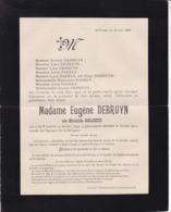 SAINT-TROND SINT-TRUIDEN Mathilde DELGEUR épouse Eugène DEBRUYN 1840-1900 Famille NAGELS - Todesanzeige