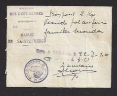 Bon Pour 2 Kg De Viande   -   Saint Serge (79)  -   Le 22/07/40  -  Famille Secouda - Notgeld