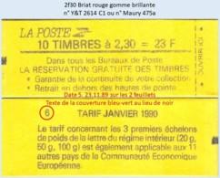 FRANCE - Carnet Conf. 6, Date 5.23.11.89, Texte Bleu-vert - 2f30 Briat Rouge - YT 2614 C1 / Maury 475a - Usage Courant