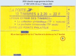 FRANCE - Carnet Conf. 9, RE - 2f20 Liberté Rouge - YT 2376 C4 / Maury 463 - Usage Courant
