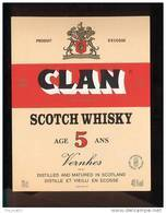 Etiquette Scotch   Whisky    -  Clan  -  Ecosse - Whisky