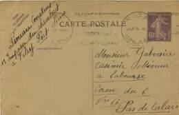 Entier Postal Semeuse 40c Envoyé Au Mineur Galvaire De Labourse (62) Coron 6 Mines - Entiers Postaux