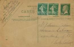 Entier Postal Pasteur 20c Envoyé Au Mineur Galvaire De Labourse (62) Coron 6 Mines - Entiers Postaux