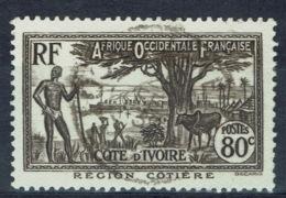 Ivory Coast, 80c., Coastal Region, 1936, VFU - Ivory Coast (1892-1944)