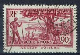 Ivory Coast, 90c., Coastal Region, 1936, VFU nice Postmark - Ivory Coast (1892-1944)