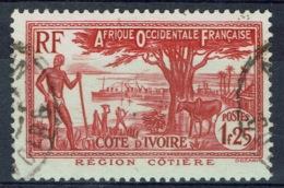 Ivory Coast, 1f.25, Coastal Region, 1936, VFU - Usados