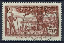 Ivory Coast, 70c., Coastal Region, 1939, VFU nice Postmark - Ivory Coast (1892-1944)