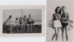 PHOTO 500 - 2 Petites Photos Originales - Femmes Et Hommes Torse Nu à La Plage - Personas Anónimos