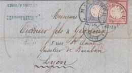 LAS.  17 MAI 1872. PD, FER A CHEVAL DE MARKIRCH ( Ste MARIE-AUX-MINES ) POUR LYON. ENTREE AVRICOURTT 4 - Briefe U. Dokumente
