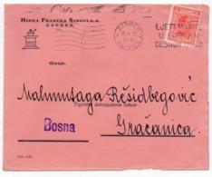 1929 YUGOSLAVIA, CROATIA, ZAGREB TO GRACANICA, HINKA FRANCKA HEADCOVER - 1919-1929 Royaume Des Serbes, Croates & Slovènes