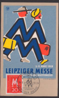 MC DDR 596 Leipziger Messe 1958 Messemännchen SoSt. Karl-Marx-Pl., Mittler Ost/West Unbeschrieben, Maximumkarte Maxcard - [6] République Démocratique