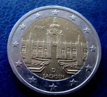 2016 ~ D ~ Germany 2  EURO EIRO Saksen Dresden-Saxe Dresden CIRCULEET COIN  ALLEMAGNE - Allemagne