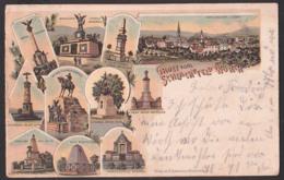Wörth Litho 1901 Gruss Vom Schlachtfeld Mit 10 Ansichten, Denkmale Der Regimenter Von Thüringen, Hessen, Bayern - Woerth