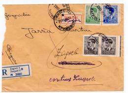 1940 YUGOSLAVIA, CROATIA, ZAGREB TO KRIŽEVCI, REGISTERED MAIL, RETOUR, OFFICIALS STAMP AT THE BACK - 1931-1941 Royaume De Yougoslavie