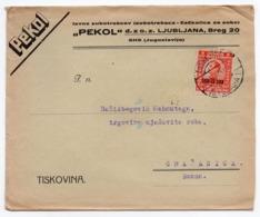 1924 YUGOSLAVIA, SLOVENIA, LJUBLJANA TO GRACANICA, BOSNIA, PEKOL, TOOTHPICKS FACTORY COMPANY'S HEAD COVER - 1919-1929 Royaume Des Serbes, Croates & Slovènes