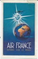 PUBLICITÉ  AIR FRANCE RAYONNE SUR  LE MONDE  RÉSEAU AÉRIEN MONDIAL REPRODUCTION AFFICHE  GOOSSENS - Publicité