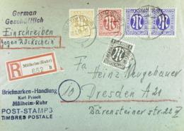 Bi-Zone: Fern-Brief Als Einschr-Rückschein Der 1. Periode MiF Aus Mülheim (Ruhr) 18.2.46 (652) Nach Dresden-portogenau - Zone Anglo-Américaine