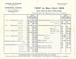 Tarif Tanneries Orthésiennes 1939 / 64 JURANCON / CABANNE Frères / Cuirs Lissés - Frankrijk
