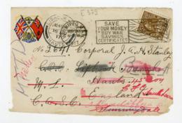"""CANADA: N° Yt 106 SUR DEVANT DE LETTRE Obli. FLAMME """"WINNIPEG 1917"""" & CàD DE """"LIPHOOK"""" POUR L'ANGLETERRE (POUR MILITAIRE - Storia Postale"""