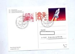 Carte Postale 40 Navette Cachet Luzerne Luraba  Avion Ballon - Stamped Stationery